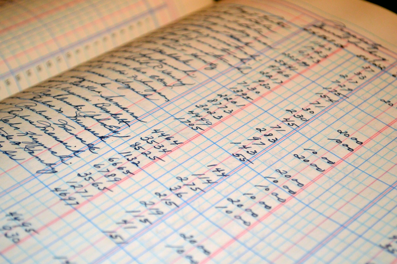 A bookkeeping ledger