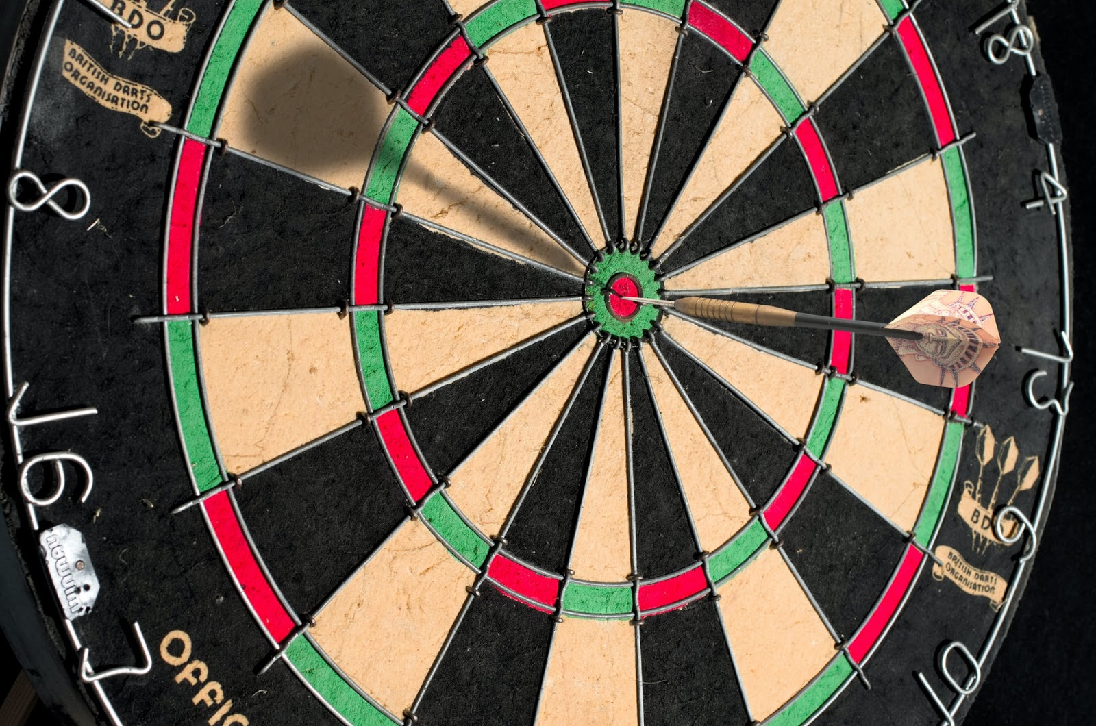 A dartboard which is a metaphor for hitting your targets in business