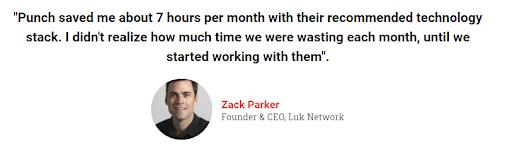 Punch financial testimonial from Zack Parker of Luk Network