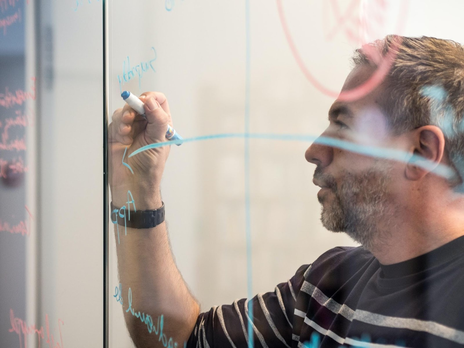 A startup founder whiteboarding ideas