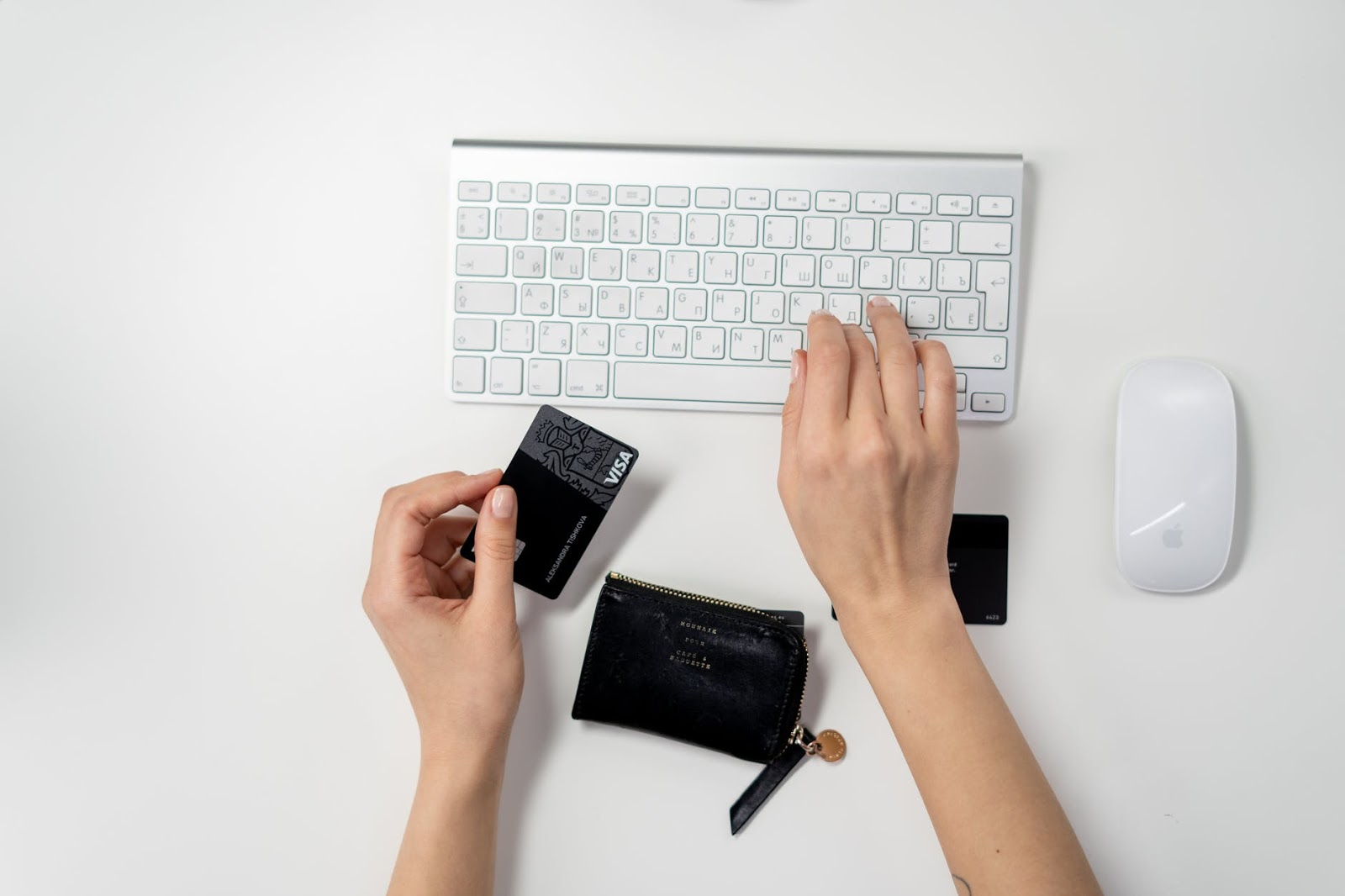 eCommerce in action on a keyboard with a credit card