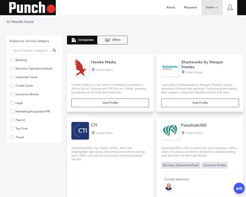 Punch preferred vendor platform